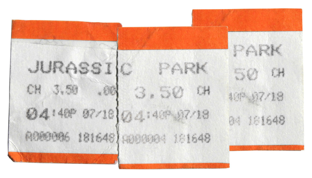 Original tickets for 'Jurassic Park' in 1993. ($3.50)