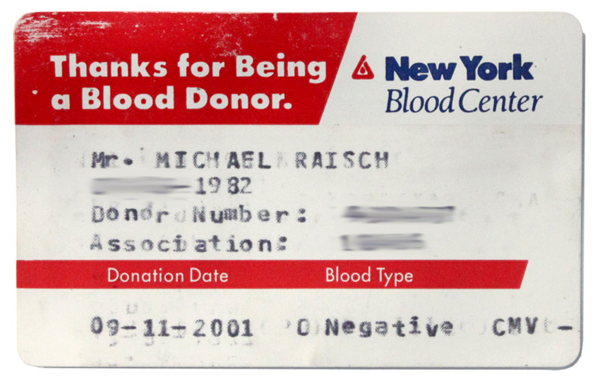Original New York Blood Center Donor Card, Dated September 11th, 2001
