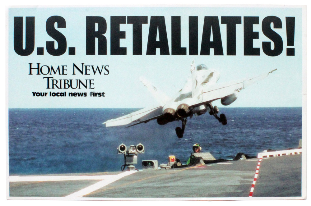 Original Newsstand posting of U.S. lead airstrikes in Afghanistan, October 2001