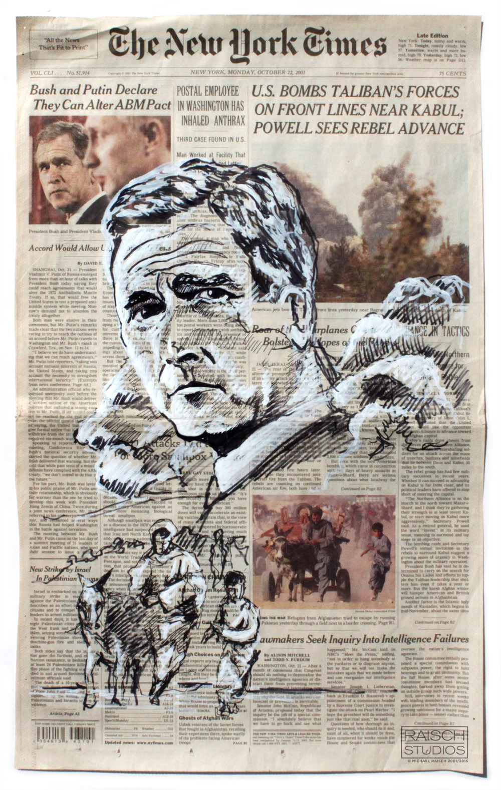 President Bush sketched on the cover of the New York Times, October 2001 © Michael Raisch