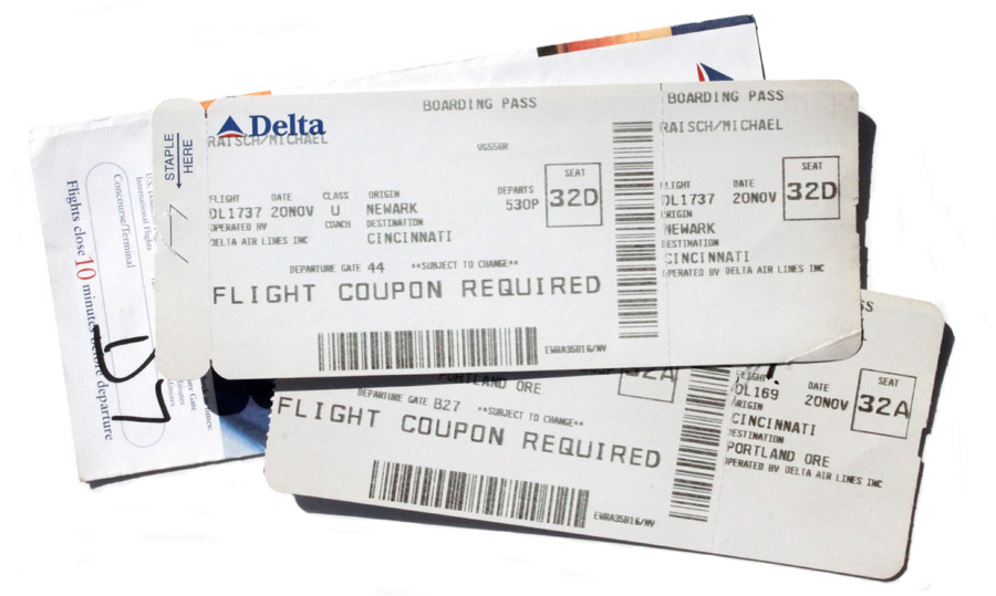 A return to the skies, Original Delta Airlines ticket for cross-country travel to Portland, OR for the holidays.