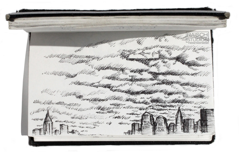 Sketch of the Lower Manhattan skyline forever changed, 10 Weeks after the attacks.