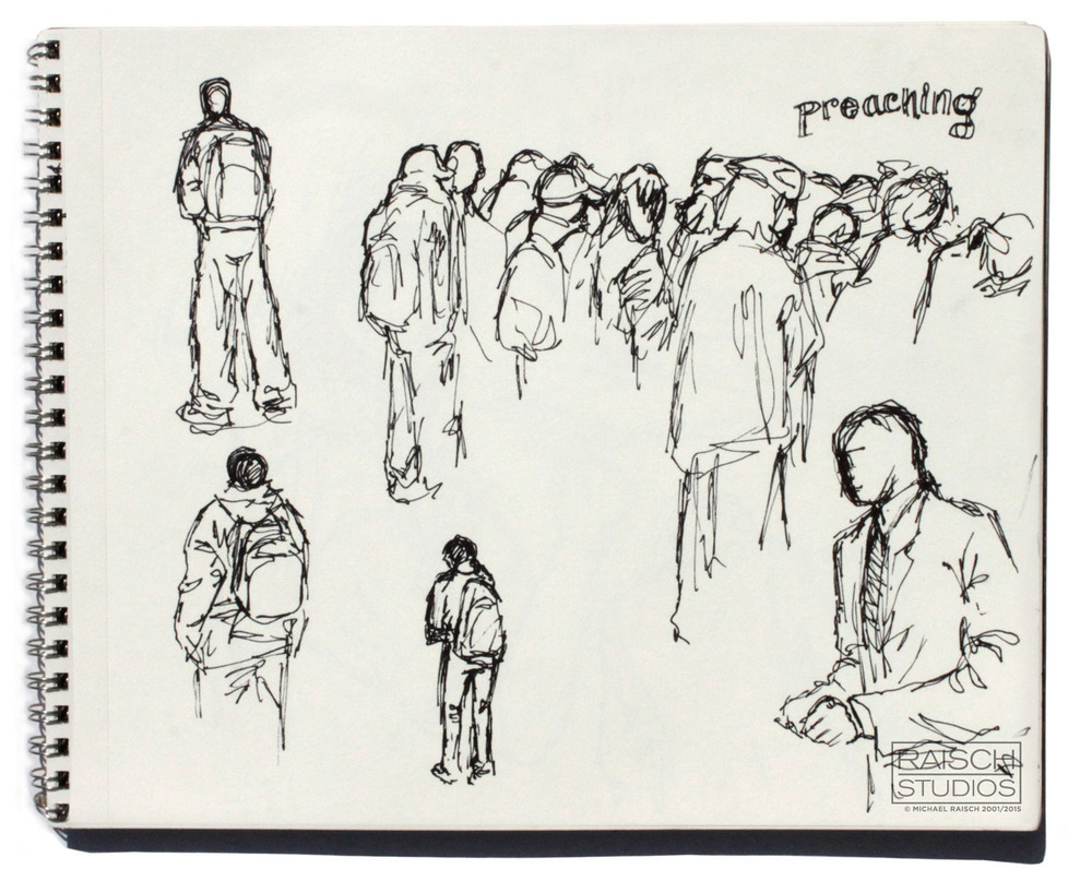 Gesture drawings of New Yorkers, November 3rd, 2001