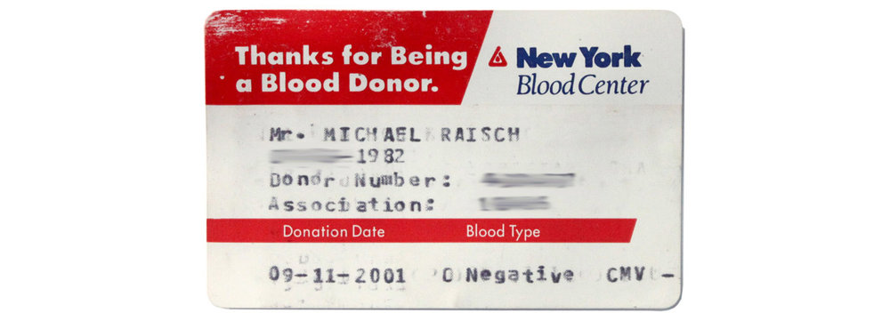 Original 9/11 Blood Donor card