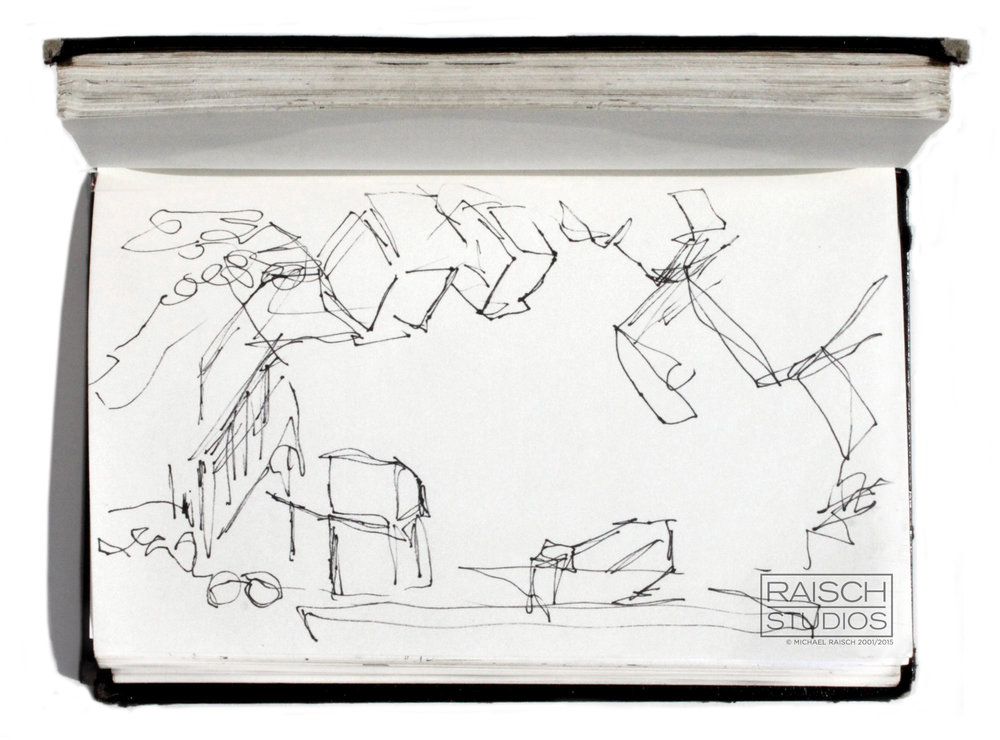 Original gesture sketch of the Saturday Night Live studios, November 3, 2001