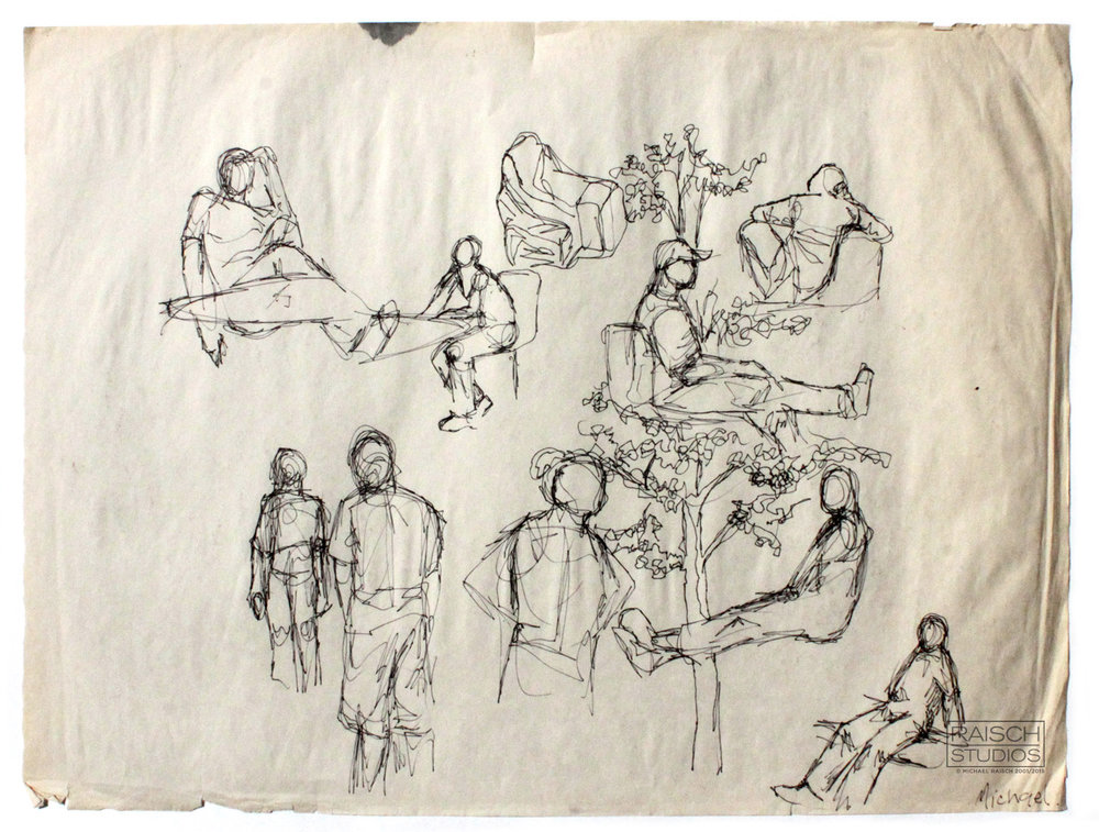 Gesture drawings, Civic Square, New Brunswick September 25, 2001
