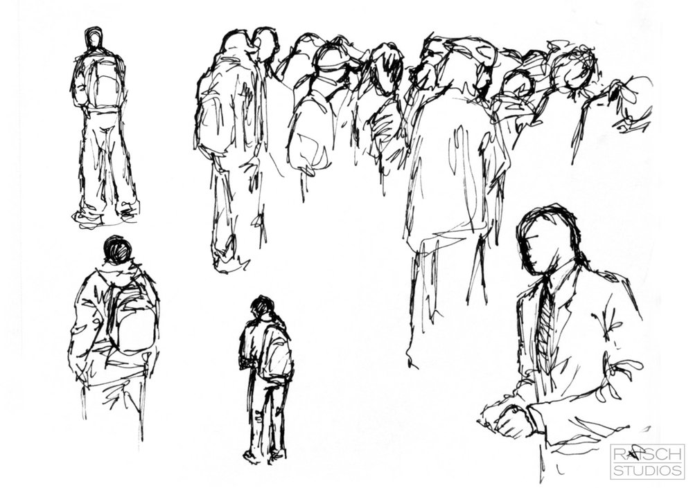 Various figure drawings, Manhattan - Nov 2001