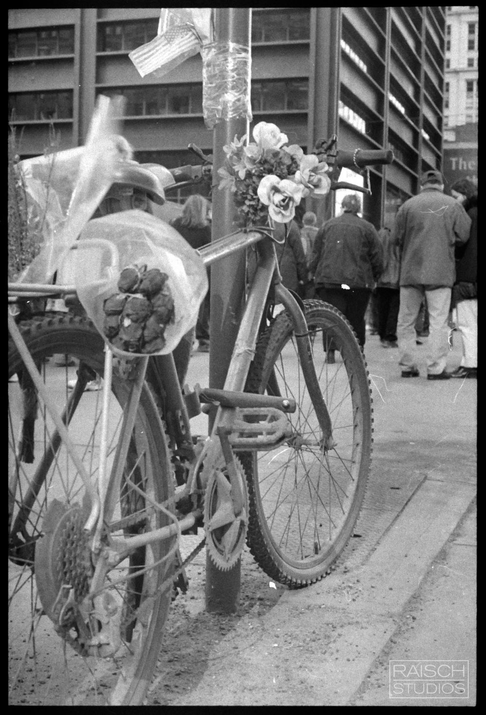 September 11th Delivery Bike Memorial, Photographed March 11, 2002 © Michael Raisch