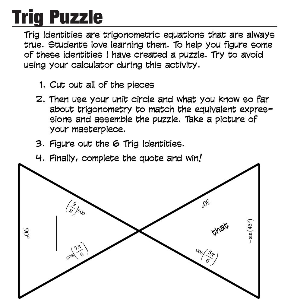 Free Worksheets pre algebra with pizzazz worksheet : A Trig Puzzle u2014 roybot