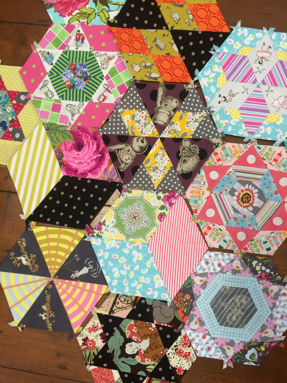 Prue Cowley's hexagon collection.