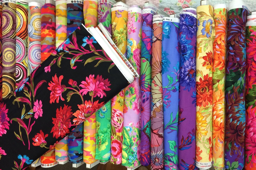A selection of some of the new Kaffe Fassett fabrics.