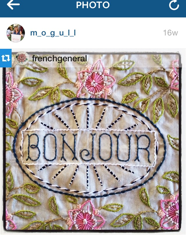 'Bonjour' stitchery by Cathy Mogull for French General