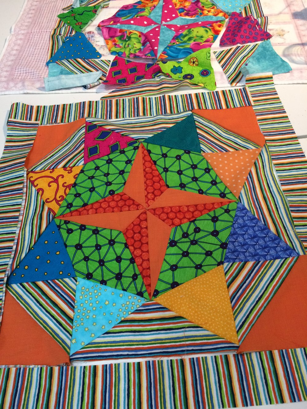 Erolyn's bright Mayfair blocks are going to be placemats!