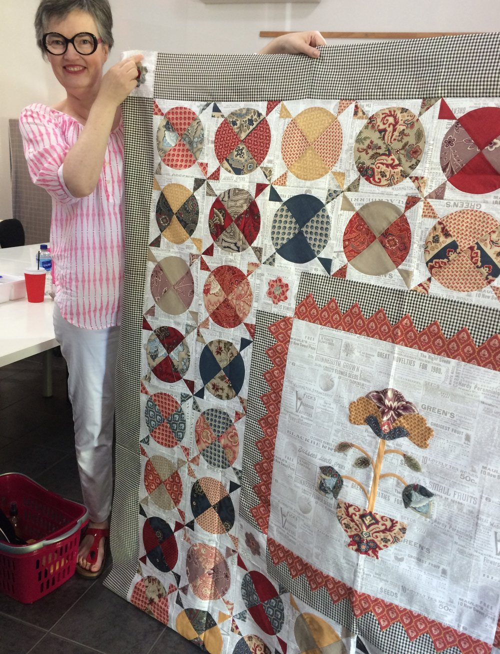 Carolyn's beautiful French Medallion Quilt top is finished!