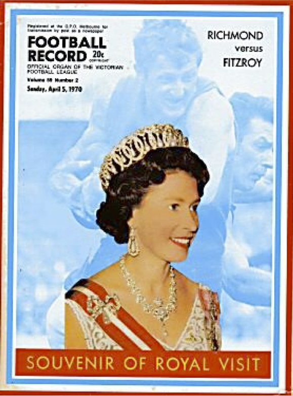 VFL  Football Record  fawns over Royal Visit in 1970.