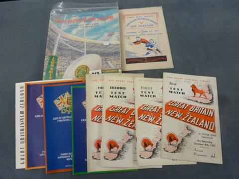 A collection of Great Britain v New Zealand programmes. But the top right one is for the 1947 1st Test 'The Rugby Football League v New Zealand'.