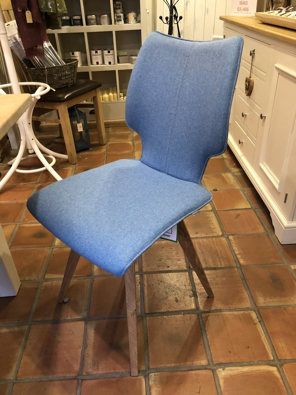 Set of SIX Blue fabric chairs with Solid Oak splayed legs NOW £1.352, WAS £1,932
