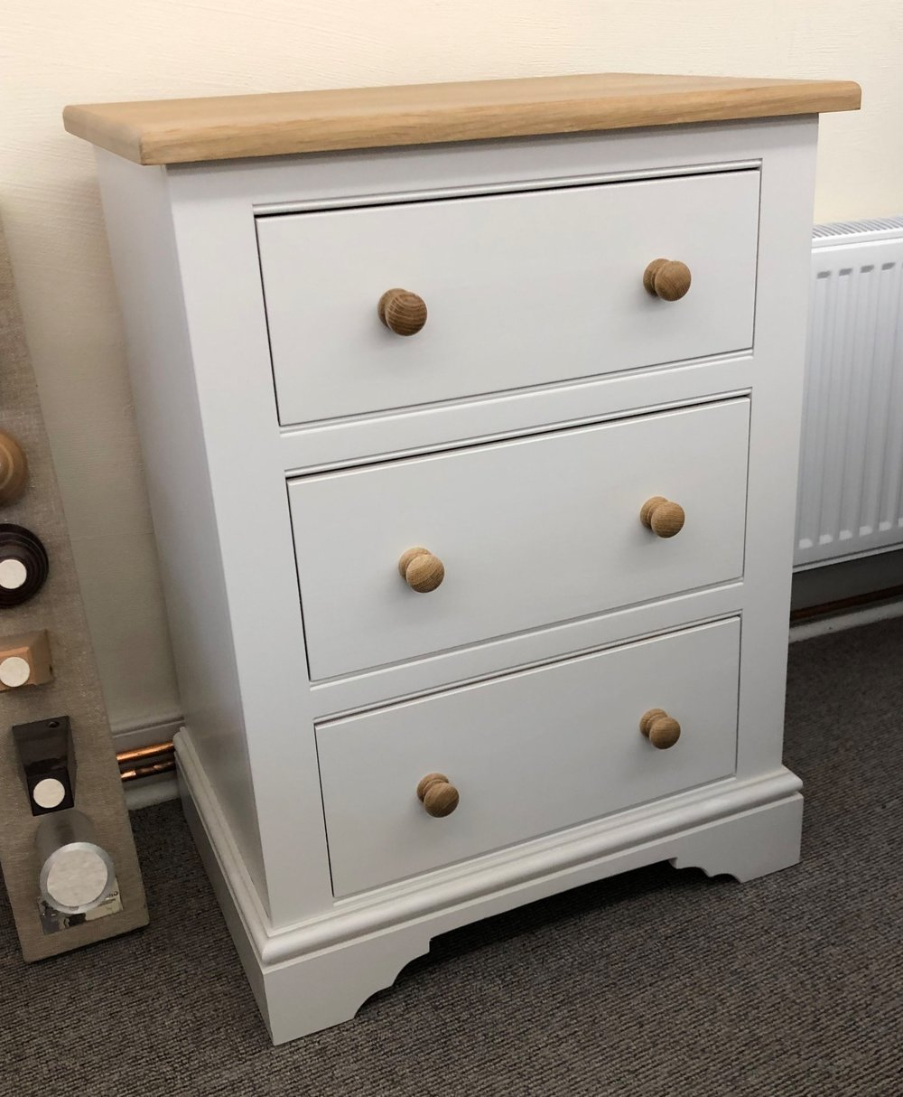 Three Drawer Chest NOW ONLY £450 was £620. With Solid Oak top & self closing drawers W61cm x D42.5cm x H81.5cm