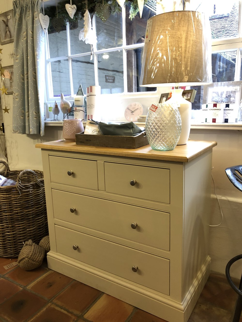 Four Drawer chest with self closing drawers. NOW ONLY £499 WAS £967 W91cm x D48cm x H82cm