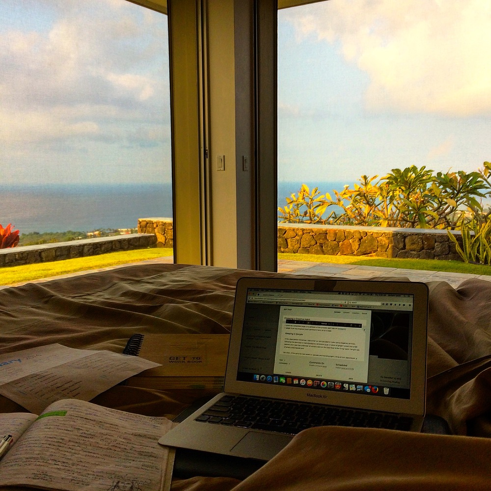 "Writing in bed: ""Choosing a Creative Habit"", the morning of December 31st."