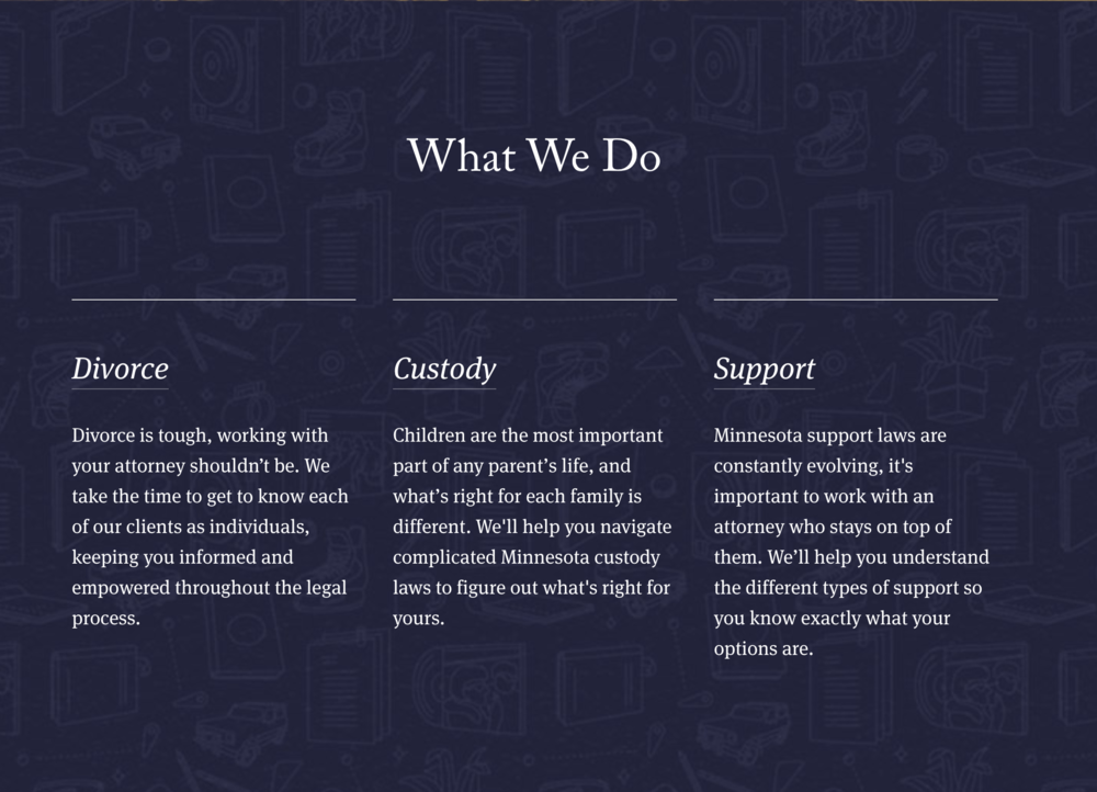Homepage services copy for Vox Law.