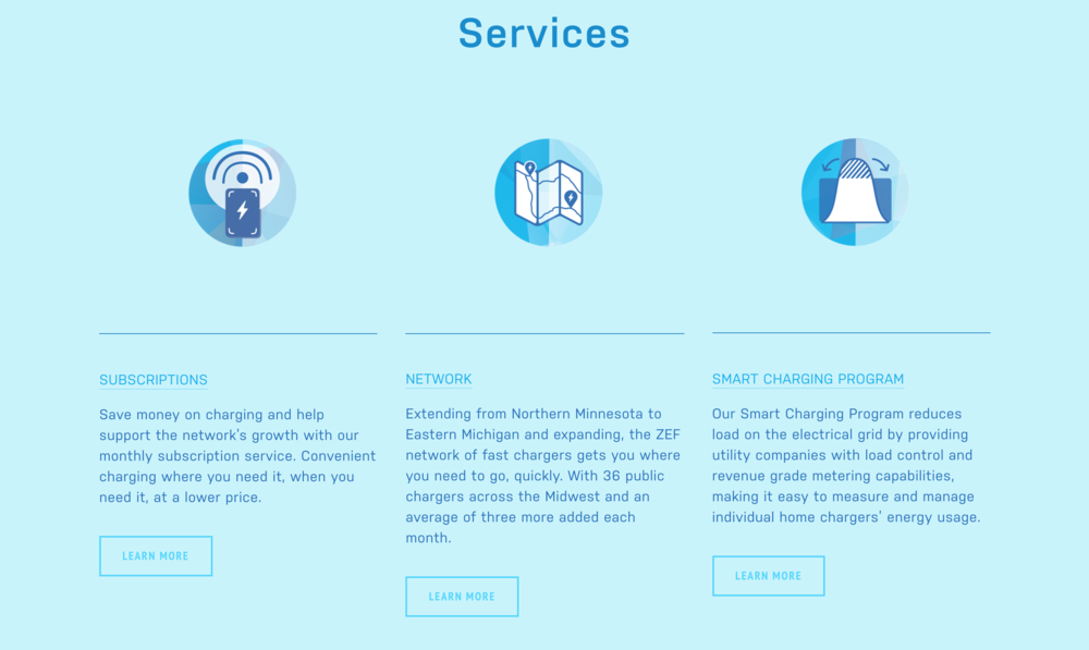 Homepage services copy for ZEF Energy's new website.
