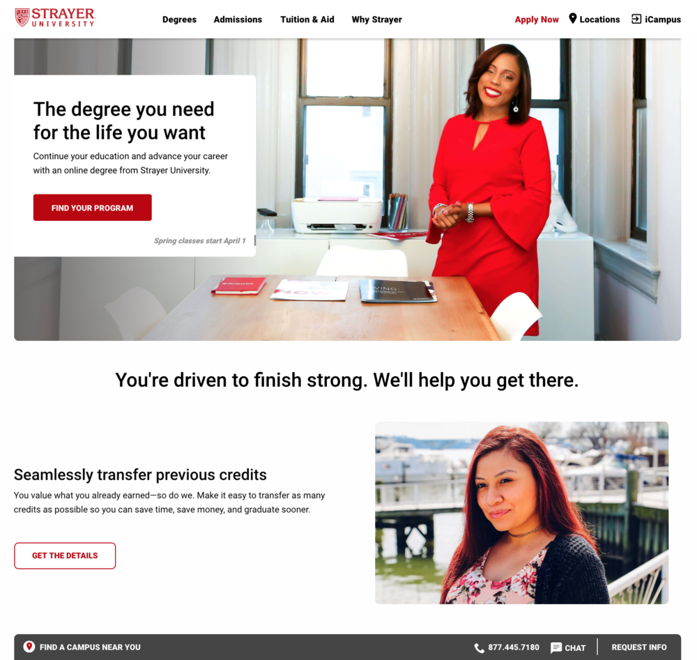 I wrote all copy for the Strayer University homepage, balancing strict brand guidelines with business goals and SEO requirements.