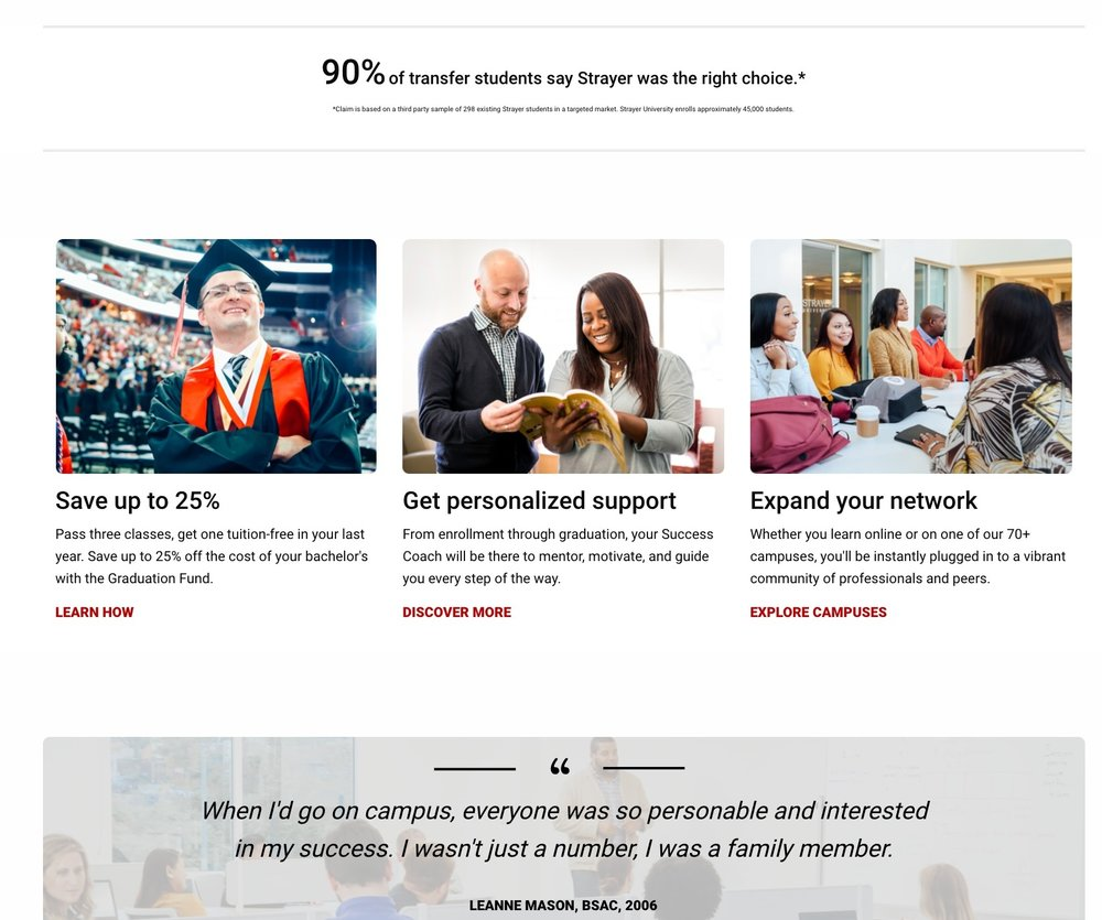 As part of a major strategic shift in Strayer's marketing efforts, the website copy needed to appeal primarily to transfer students who were looking for a more supportive university experience.