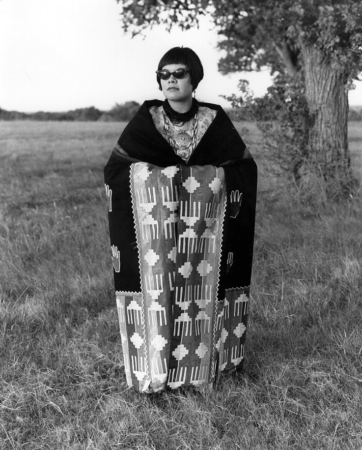 Osage girl wearing hand Blanket