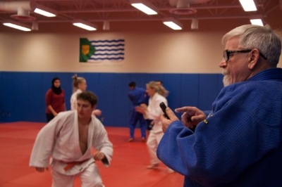 Brian, timing the students during a judo specific cardio exercise