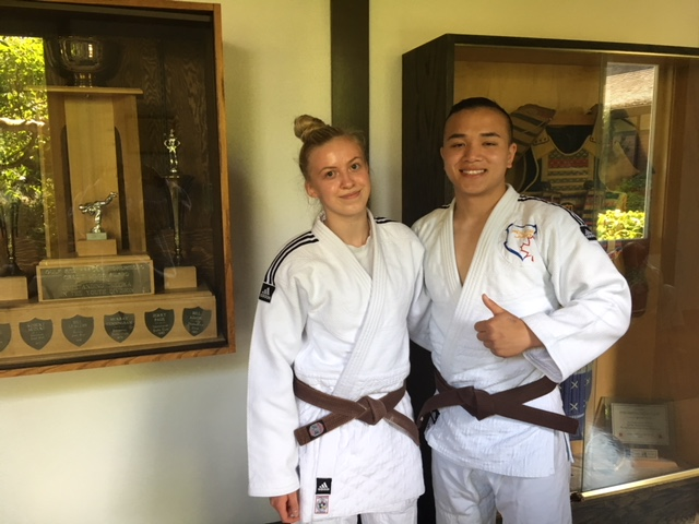 Launa with Coach Howie at her recent Kata exam