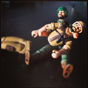 """Clutch! Talk to me buddy! No, god no. Hold on, Clutch. Why?!?   ""       It only takes a second to have an accident. Don't let this happen to your action figures. Treat them well. --PETAF (People for the Ethical Treatment of Action Figures)"
