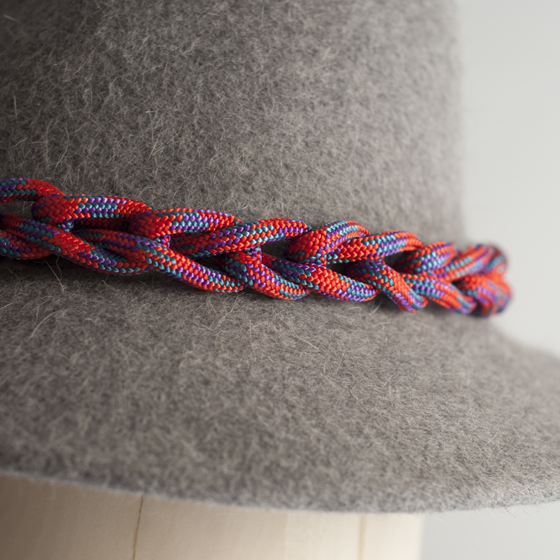 Seamless woven hat band made from 5mm nylon climbing rope. Brim is finished with a pick stitch so there is not visible seaming.