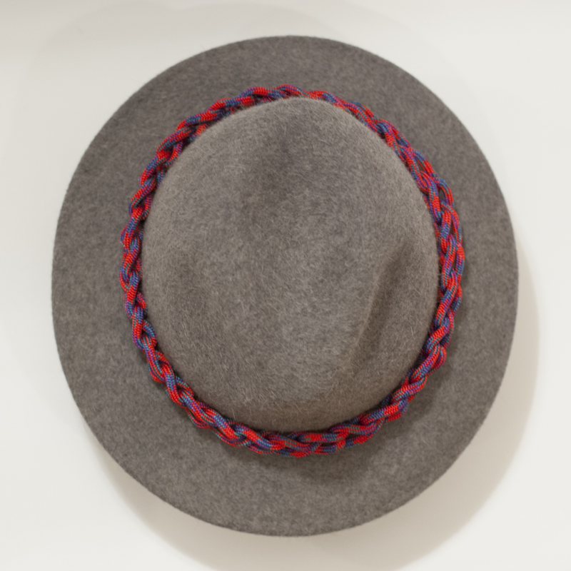 Overhead view. Hat band is woven so it's free from seams.