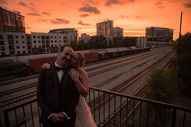 David and Meredith and the sunset #nashvilleweddingphotographer #weddingday #nashville #weddingdress #nashvillephotographer #bride #groom