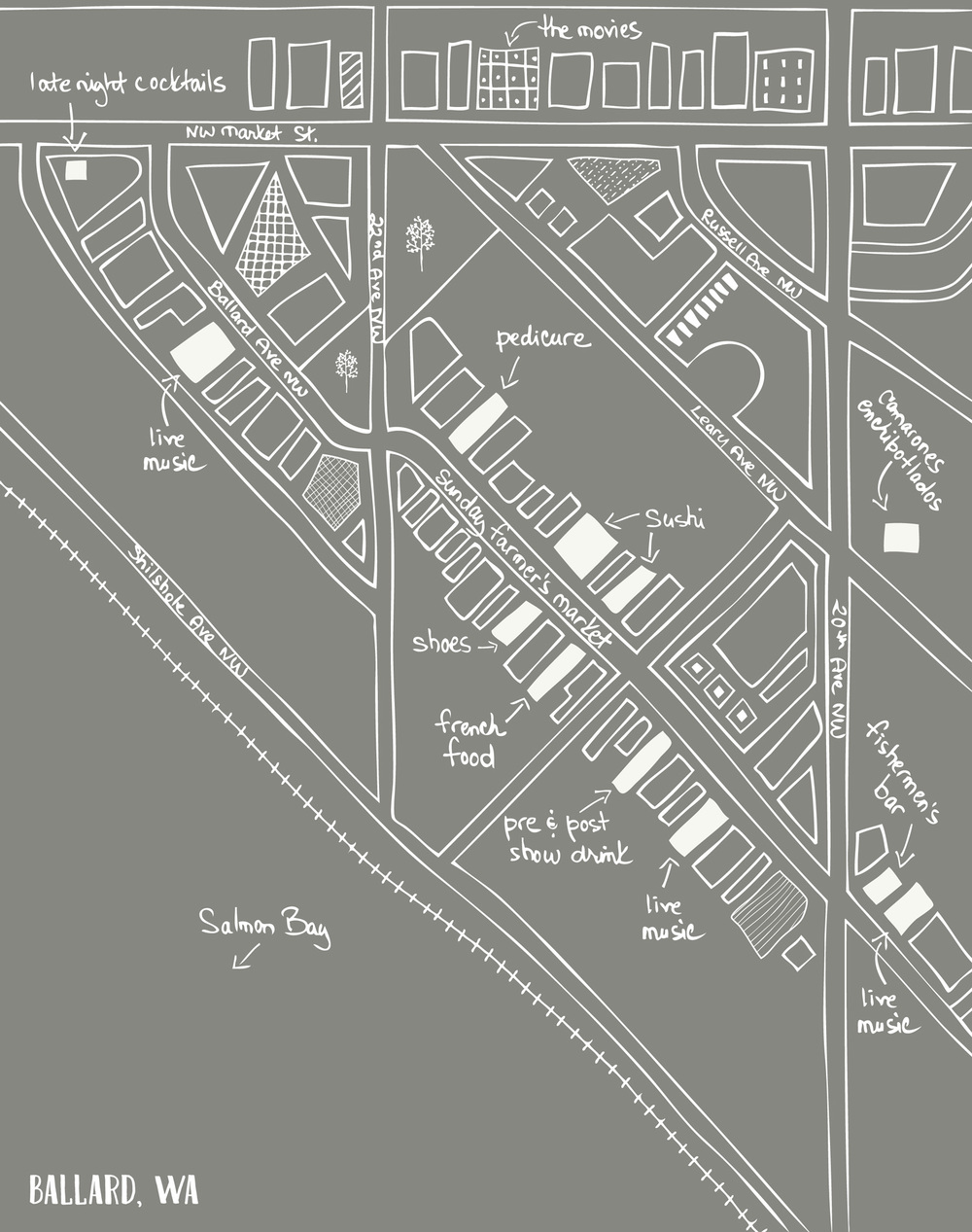 Map of Ballard neighborhood, Seattle, WA by Laurie Baars