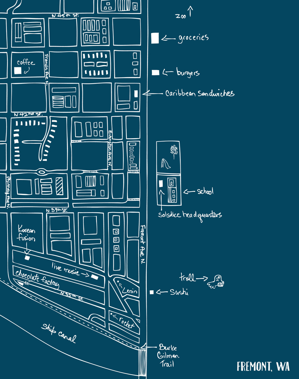 Map of Fremont neighborhood in Seattle by Laurie Baars