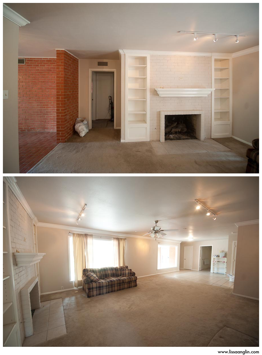 Main living area. Built-ins, fireplace, GIANT windows, open to the kitchen area. I loved it. Except the carpet,
