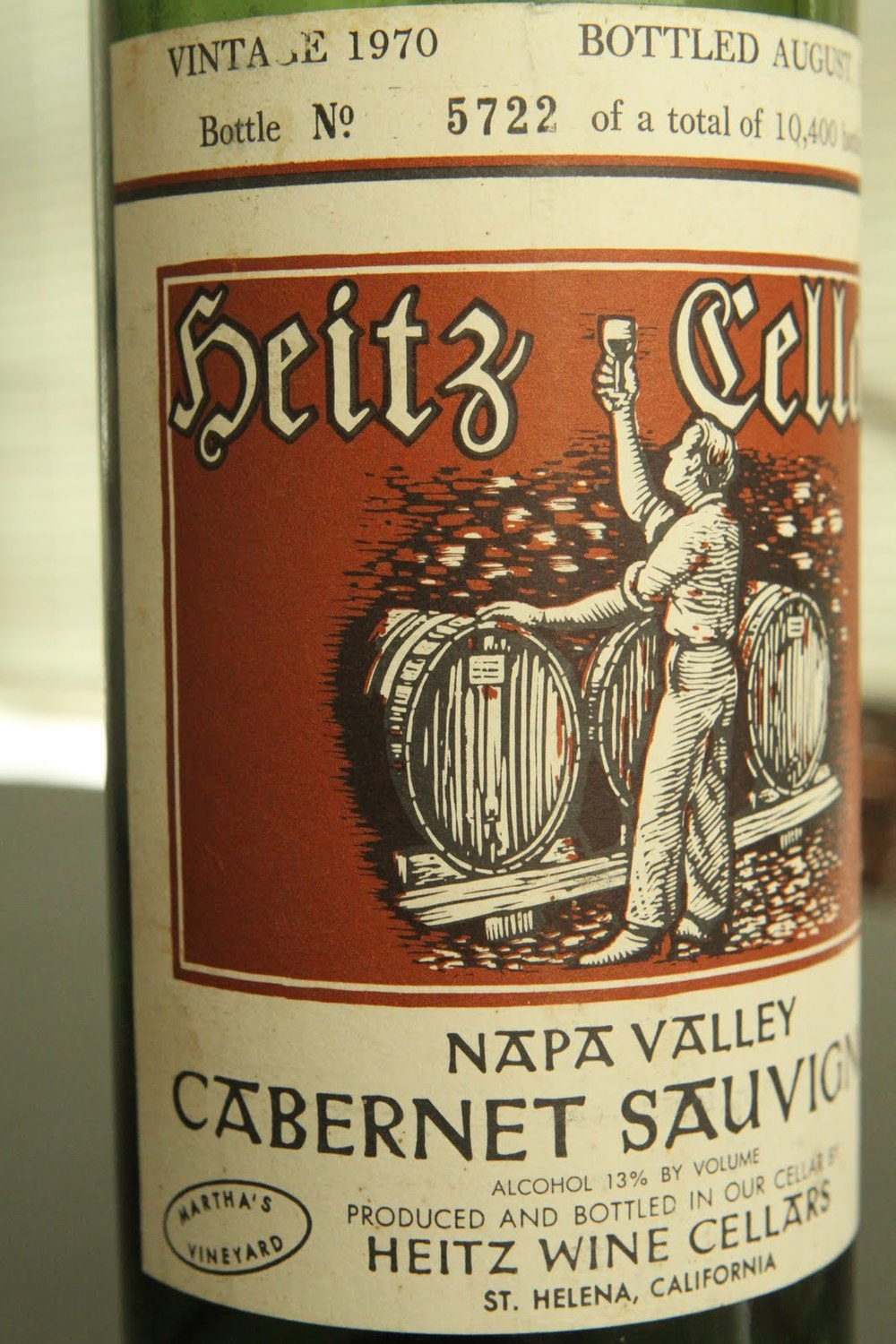 Heitz Cellars legendary 'Martha's Vineyard' Cabernet Sauvignon, one of the ones that put California wines on the map in the 70s.