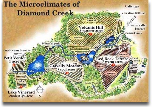 Map of Diamond Creeks various micro-climats that define their vineyards and bottlings.