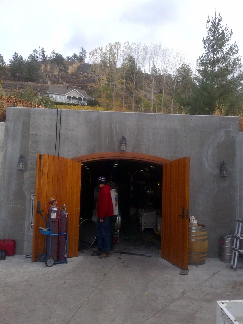 Entrance to Foxtrot's cellar dug into the Naramata Bench.