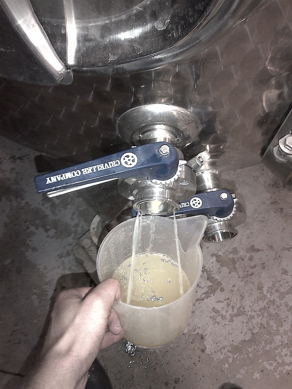 Getting some fermenting Chardonnay juice to test the brix and track fermentation...