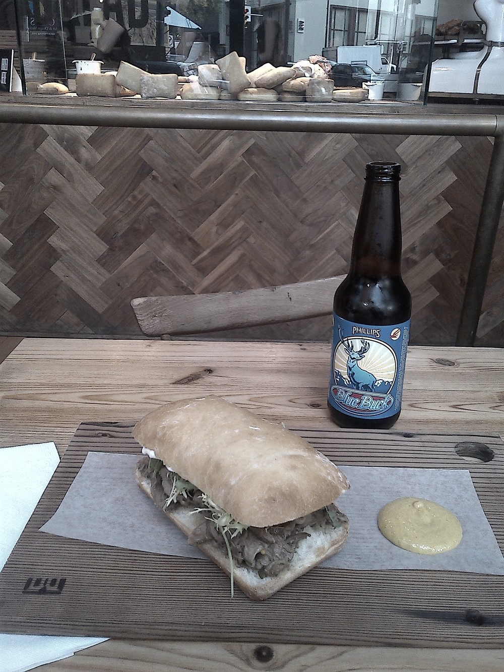 Sandwich and beer at Meat and Bread