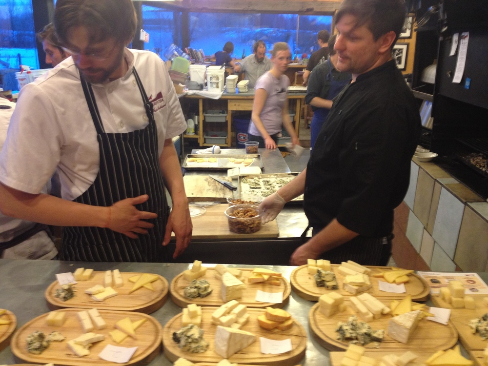 Matt Shepard and Jon Svazas looking over the cheese course before it goes out.