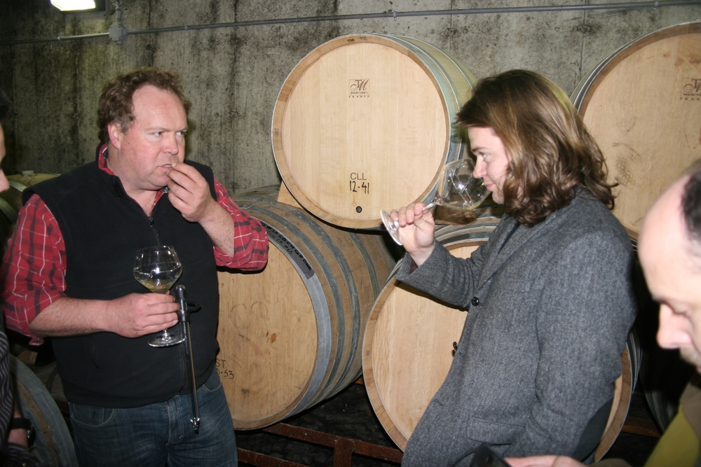 Norm tasting some County Chardonnay from barrel with Magnus Nilsson from Faviken, Sweeden.