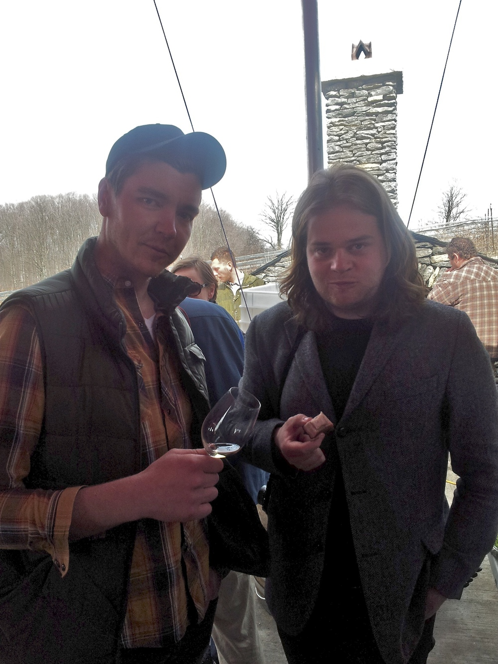 Me and Magnus Nilsson of Fäviken crushing JP McMahon's pork belly with Norm's County Chardonnay.