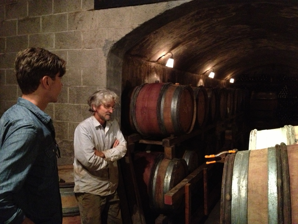 Checking out the cellar with Cameron's illustrious and eccentric owner/winemaker John Paul.