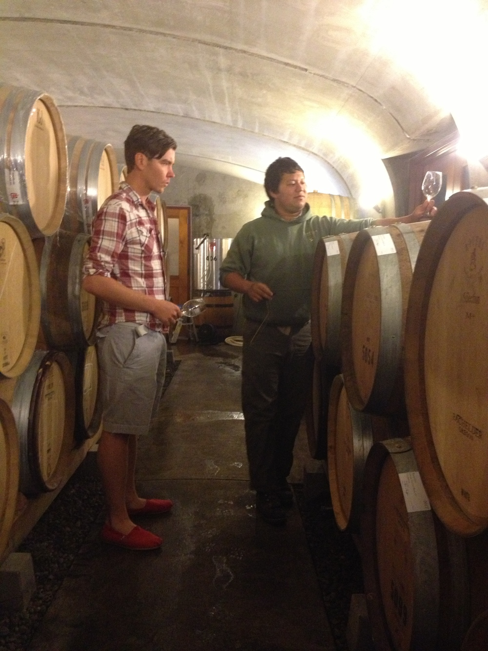 Tasting Thomas Bachelder's Oregon Chardonnays in barrel at Lemelson with cellarmaster David Martinez.
