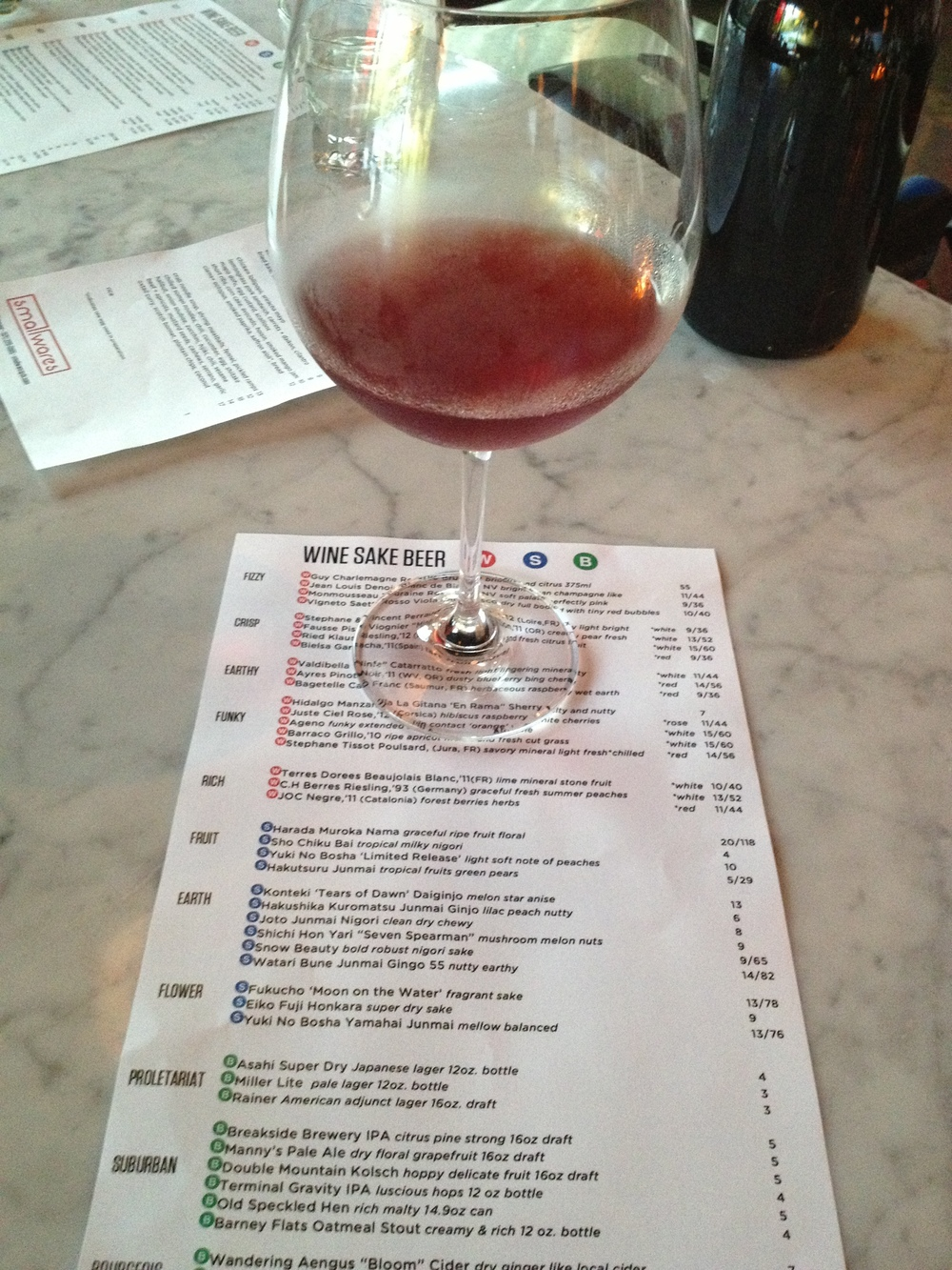 A quick glass of Tissot Poulsard at the funky north Portland joint Smallwares.