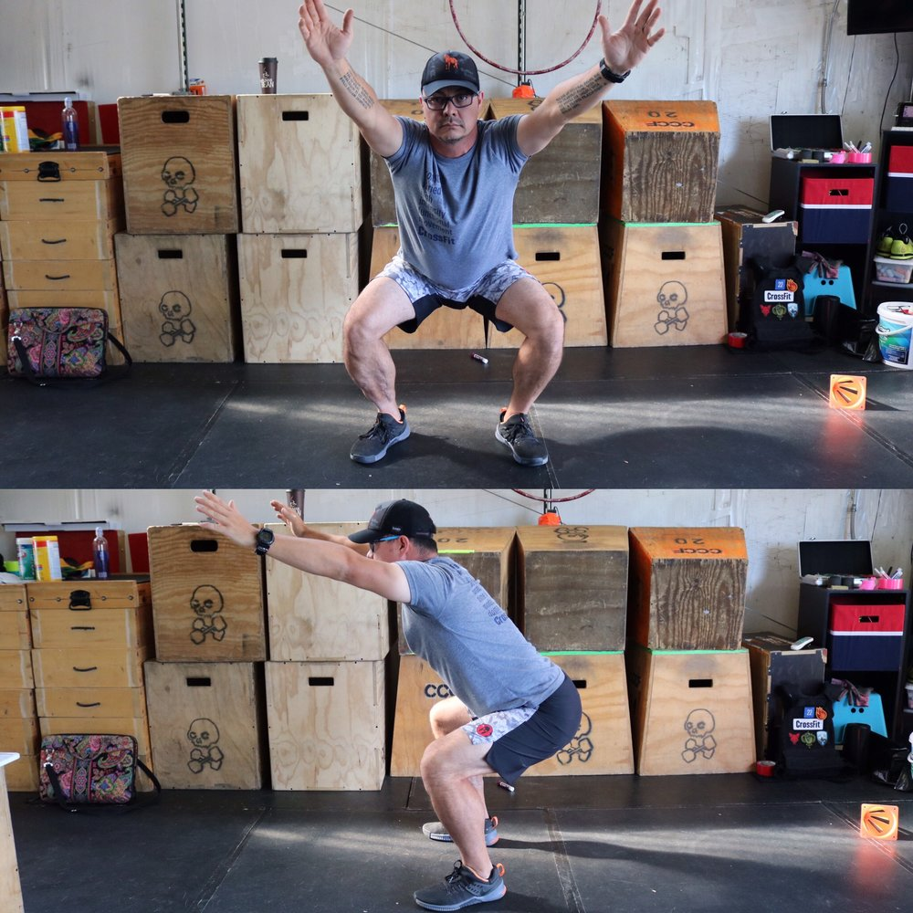 "This is an example of a squat that is above parallel or not deep enough. People tend to believe that this is safe for the knee but lacks posterior chain engagement and causes the ""use it or lose it"" scenario where if I never get lower, then I'll never be able to get lower when I need to later on in life."